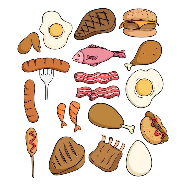 Satz köstliches fleisch mit farbiger gekritzelart auf weiß Premium Vektoren