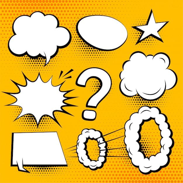 Satz komische chatblasen und -ausdrücke Kostenlosen Vektoren