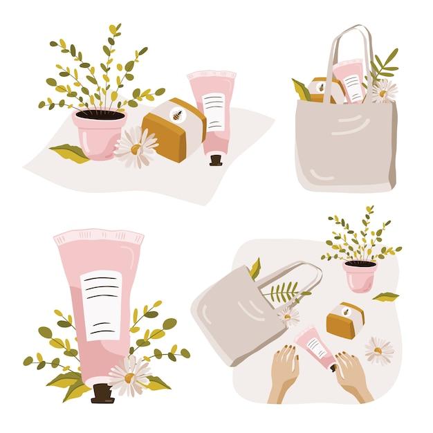 Satz kompositionen mit pflanzen und kosmetika. Premium Vektoren