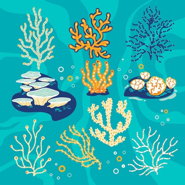 Satz korallen und seeschwämme, unterwasserillustration Premium Vektoren