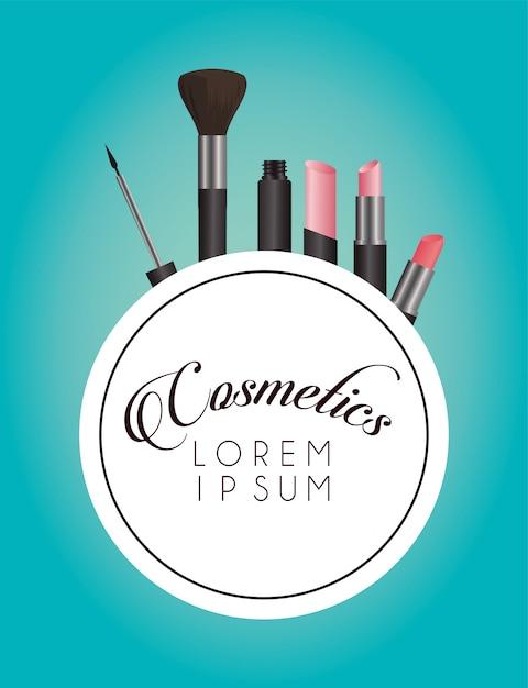 Satz kosmetik make-up kreisförmigen rahmen Premium Vektoren