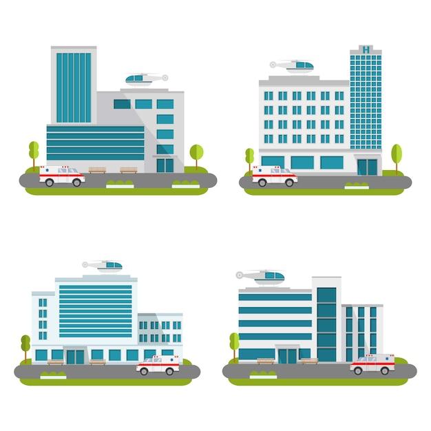 Satz krankenhausgebäude mit hubschraubern und krankenwagenauto. Premium Vektoren