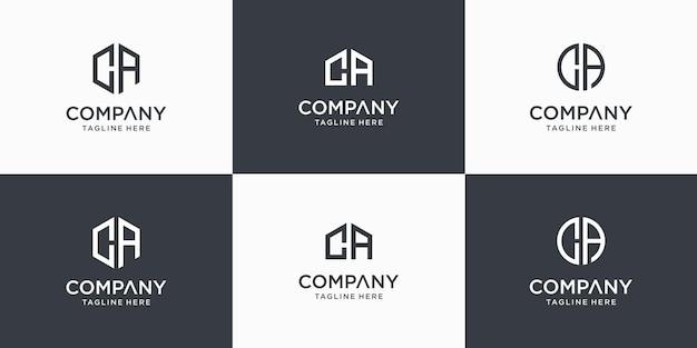 Satz kreative abstrakte monogrammbuchstaben ca logo designvorlage Premium Vektoren