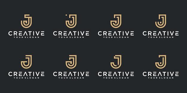 Satz kreative abstrakte monogrammbuchstaben j logo-design-sammlung Premium Vektoren