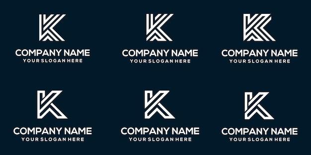 Satz kreative abstrakte monogrammbuchstaben k logo designvorlage Premium Vektoren