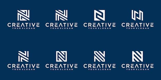 Satz kreative abstrakte monogrammbuchstaben n logo-design-sammlung Premium Vektoren