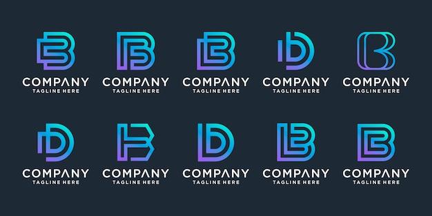 Satz kreative buchstabe b logo design inspiration. s für luxusgeschäfte, elegant, einfach. Premium Vektoren