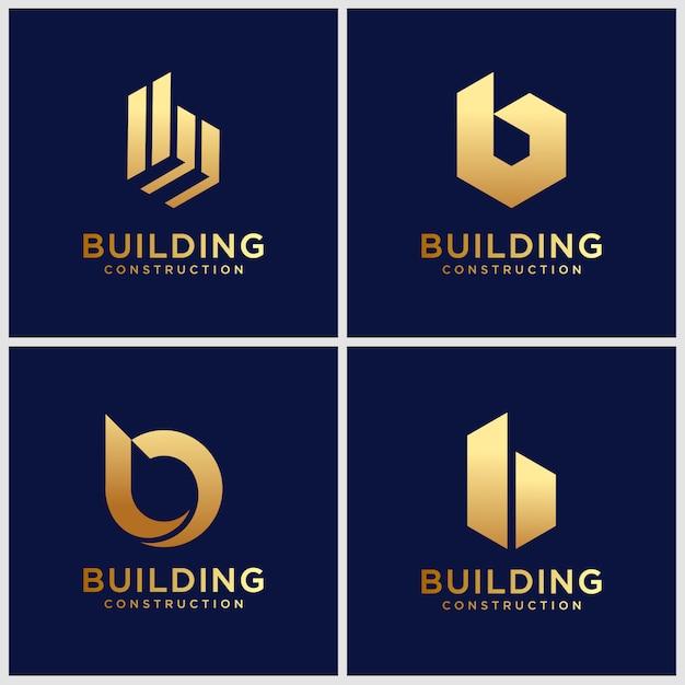 Satz kreative buchstabe b logo designvorlage. ikonen für luxusgeschäfte, elegant, einfach. Premium Vektoren