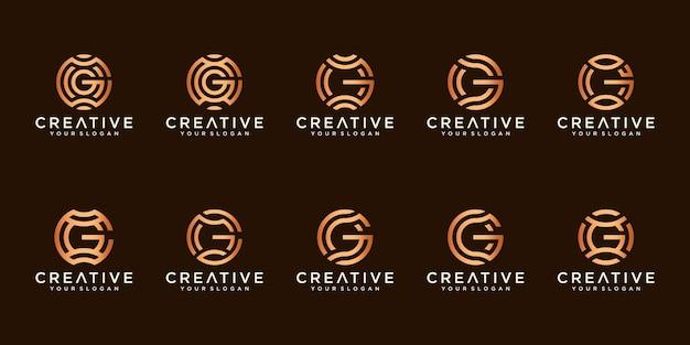 Satz kreative buchstaben g logos Premium Vektoren