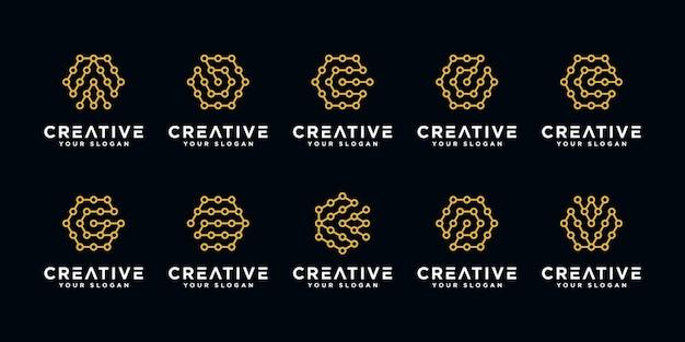 Satz kreative buchstaben-technologie-logo-entwurfsschablone Premium Vektoren