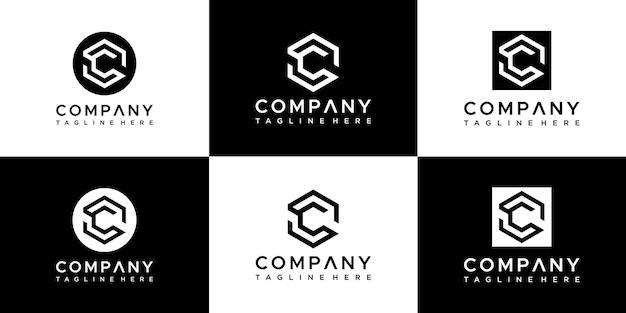 Satz kreative initialen buchstabe c logo design Premium Vektoren