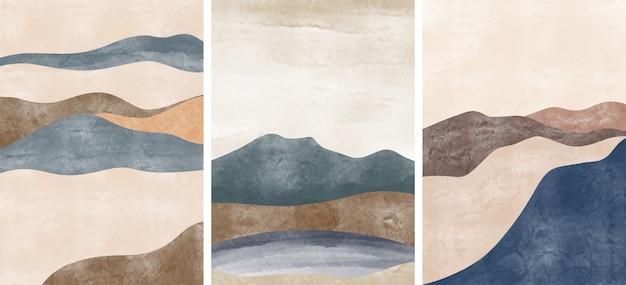 Satz kreative minimalistische handgemalt. hintergrund der abstrakten künste. Premium Vektoren