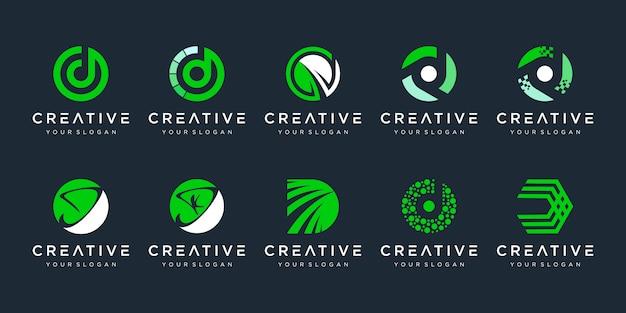Satz kreative monogramm buchstabe d logo design-vorlage. das logo kann für technologie-, digital-, labor- und finanzunternehmen verwendet werden. Premium Vektoren