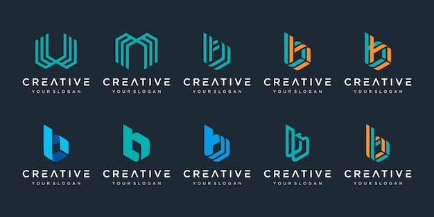 Satz kreative monogrammbuchstaben b, w und m logo-vorlage. das logo kann für bauunternehmen verwendet werden. Premium Vektoren