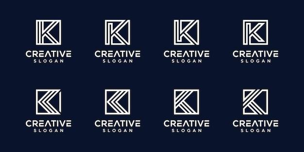 Satz kreative monogrammlogobuchstaben k vorlage Premium Vektoren