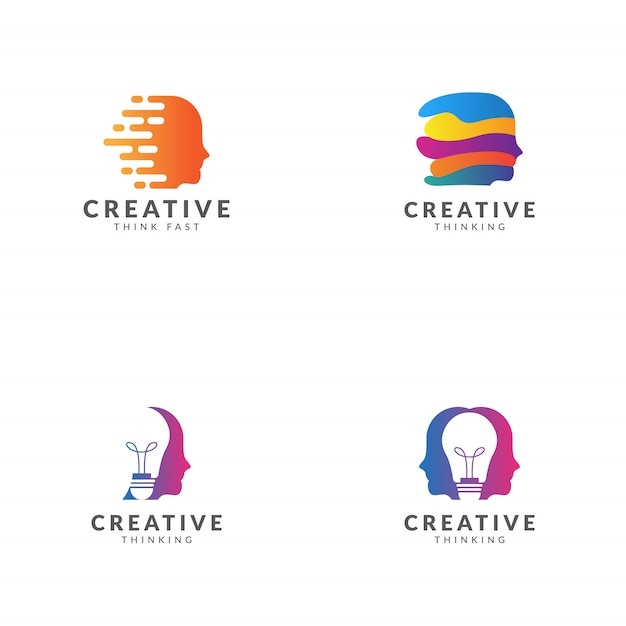 Satz kreatives denkendes logoschablonen-vektordesign Premium Vektoren