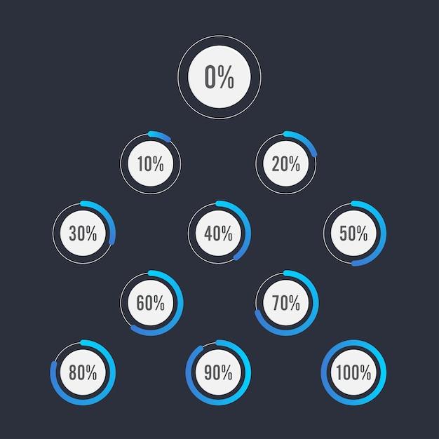 Satz kreisprozentsatzdiagramme für infographics design Premium Vektoren