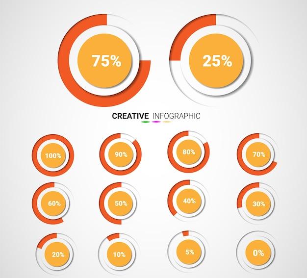 Satz kreisprozentsatzdiagramme für infographics Premium Vektoren