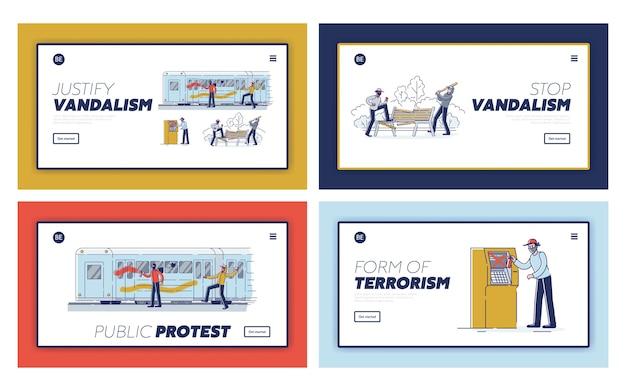 Satz landing pages mit vandalen, die öffentliches eigentum beschädigen. straßenvandalismus und rowdytum konzept Premium Vektoren