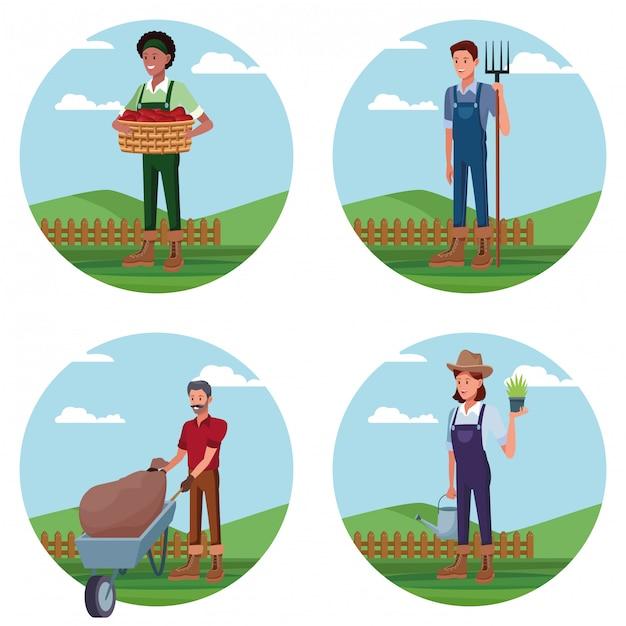 Satz landwirte, die in den bauernhofkarikaturen arbeiten Kostenlosen Vektoren