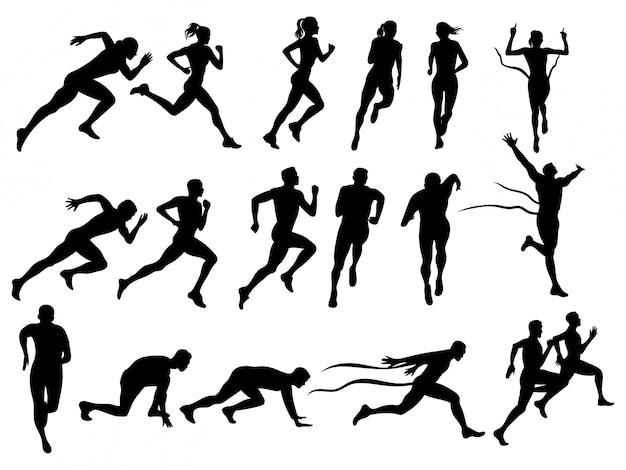 Satz laufender männer und frauen. sammlung von silhouetten laufender menschen. Premium Vektoren