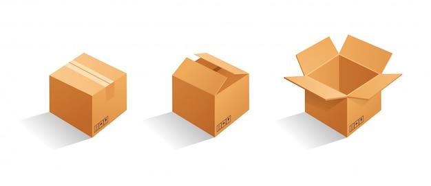 Satz leere braune pappverpackungskästen. kann für medizin, lebensmittel, kosmetik und andere verwendet werden. realistische darstellung Premium Vektoren