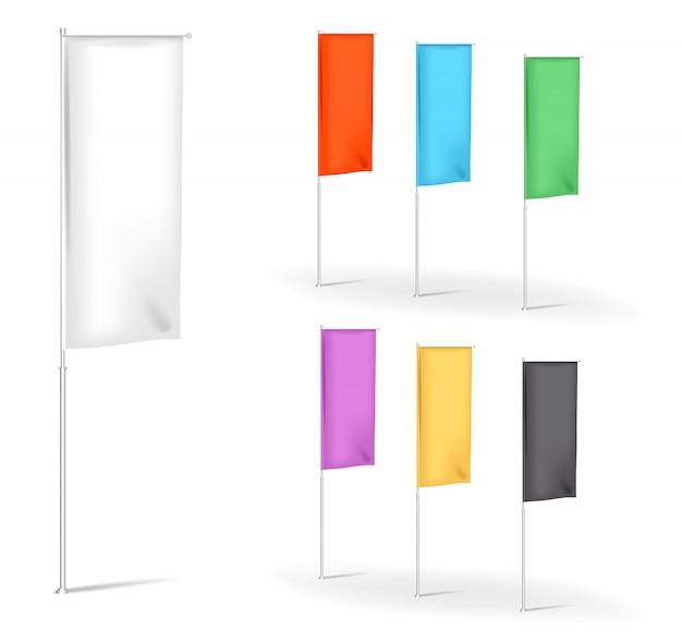 Satz leere flaggen werbung banner banner mit falten mehrfarbig, illustration vorlagen Premium Vektoren