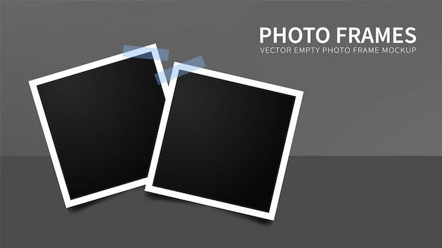 Satz leere fotorahmen mit blauen klebebändern Premium Vektoren