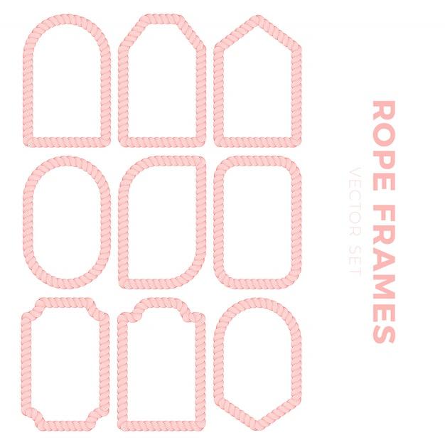 Satz leere geschenkmarkenaufkleber für verkaufspreise mit seilentwurf. seilrahmen aufkleber in verschiedenen runden, quadratischen und rechteckigen formen Premium Vektoren
