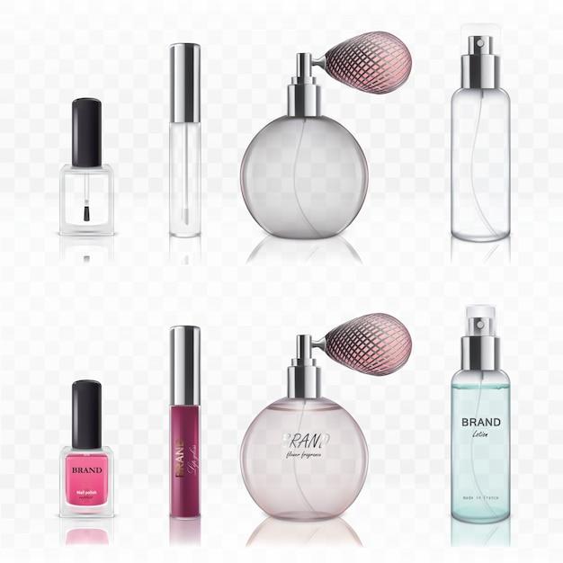 Satz leere kosmetische glasflaschen. Kostenlosen Vektoren