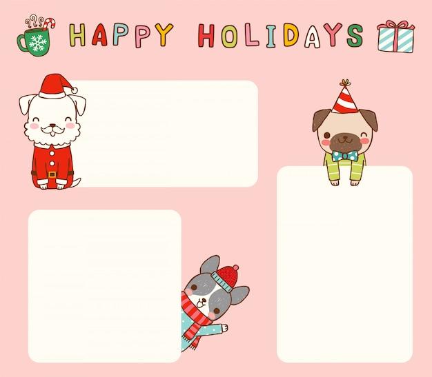 Satz leere mitteilungsweihnachtskarten mit niedlichen hunden Premium Vektoren