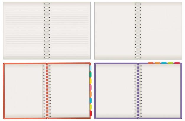 Satz leere notizbücher auf weißem hintergrund Premium Vektoren