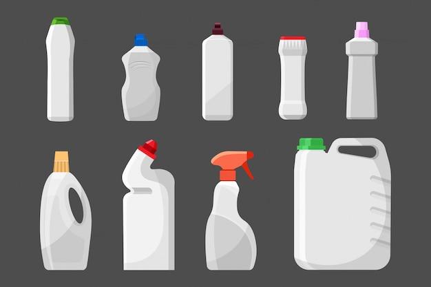 Satz leere reinigungsmittelflaschen oder -behälter, reinigungsmittel, waschpulver. Premium Vektoren