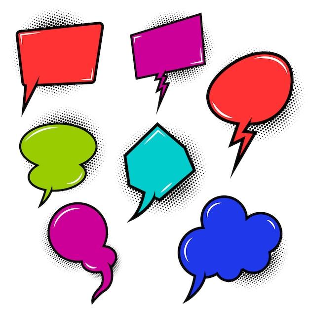 Satz leere sprechblasen im comic-stil. elemente für plakat, t-shirt, banner. bild Premium Vektoren