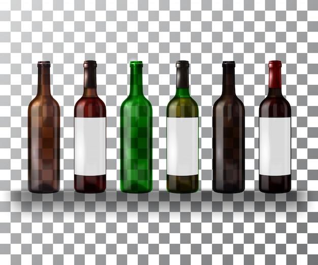 Satz leere und volle flaschen wein lokalisiert auf einem transparenten. Premium Vektoren