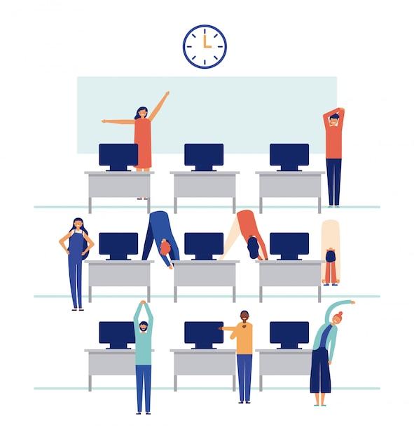 Satz leute, die im büro arbeiten und aktive pausen tun Kostenlosen Vektoren