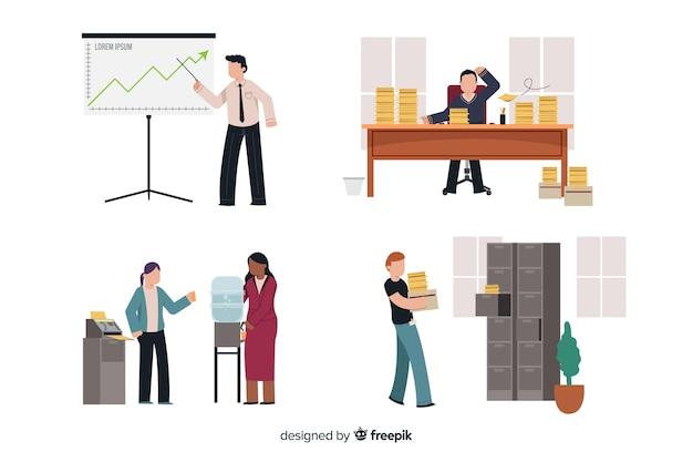 Satz leute, die im büro arbeiten Kostenlosen Vektoren