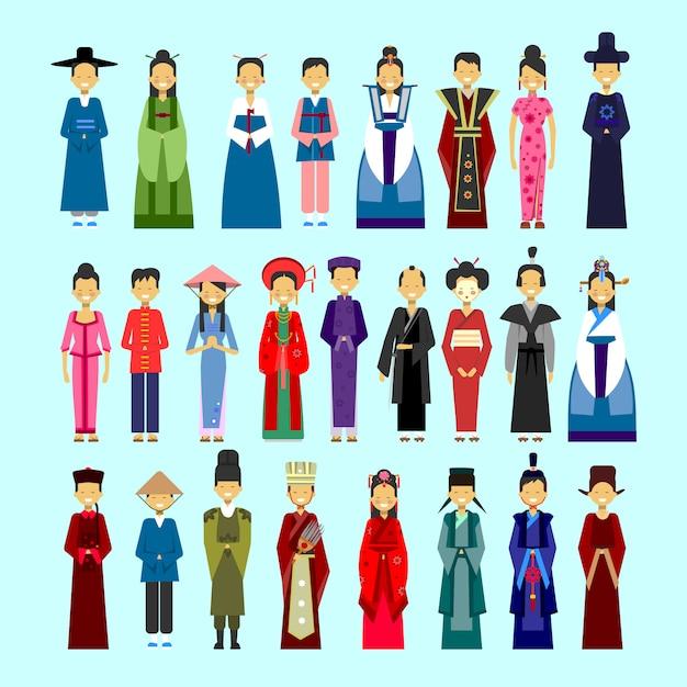 Satz leute im traditionellen asiatischen kleidungs-, männlichen und weiblichen nationalen kostüm-sammlungs-konzept Premium Vektoren