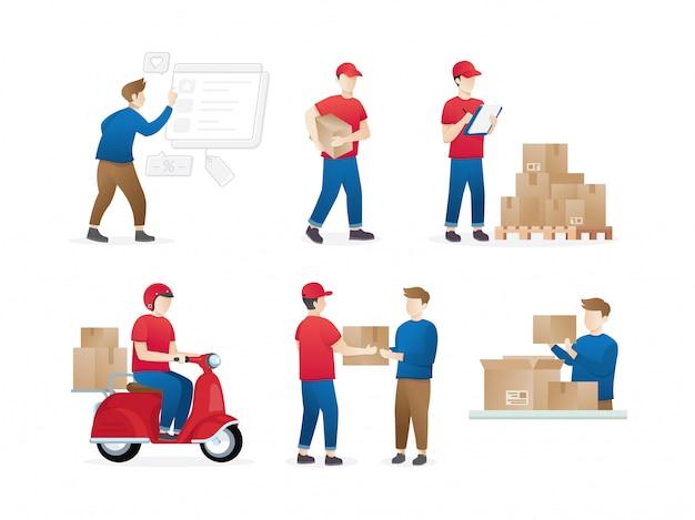 Satz lieferarbeiter oder kurier Premium Vektoren