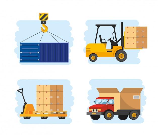 Satz lieferservice mit gabelstapler und lkw-transport Premium Vektoren