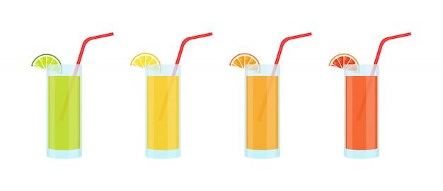 Satz limonaden in glasgläsern. limette, zitrone, orange und grapefruit. Premium Vektoren