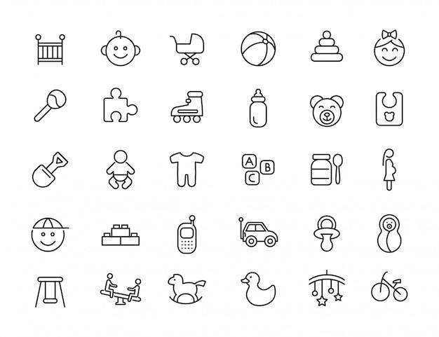 Satz lineare babyikonen. neugeborene ikonen im übersichtlichen design. vektor-illustration Premium Vektoren