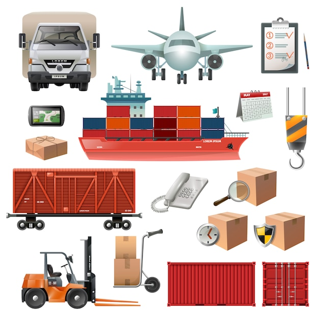 Satz logistikelemente Kostenlosen Vektoren