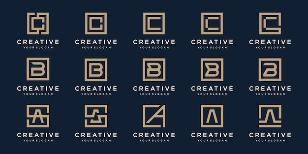 Satz logo buchstaben a, b und c mit quadratischem stil. vorlage Premium Vektoren