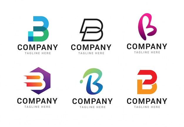 Satz logo-ikonen-schablonenelemente des buchstaben b Premium Vektoren
