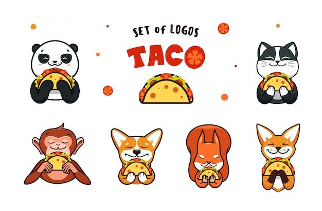 Satz logos fast food. logotypen tiere, die taco essen Premium Vektoren