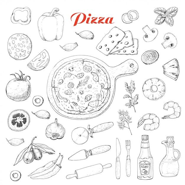 Satz lokalisierte bestandteile für das kochen der pizza Premium Vektoren
