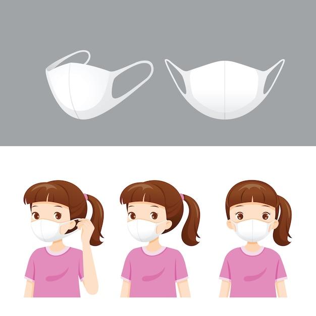 Satz luftverschmutzungsmaske und mädchen tragen maske zum schutz von staub, rauch, smog, coronavirus-krankheit, Premium Vektoren