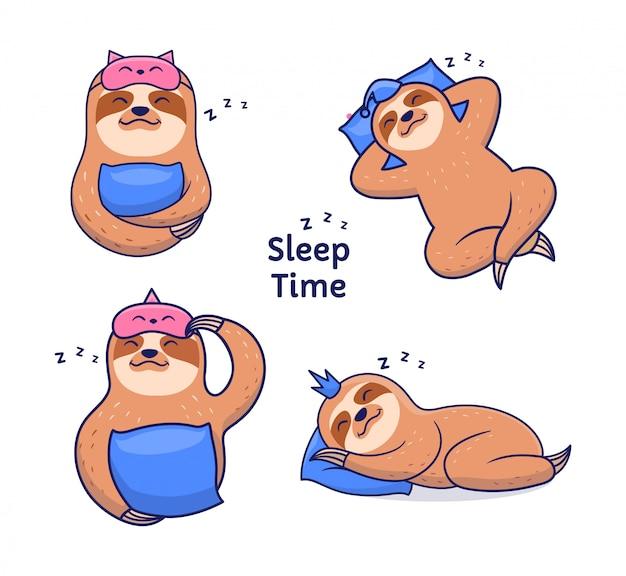 Satz lustige faultiere, die nachts schlafen. illustration zeichentrickfiguren mit schriftzug Premium Vektoren