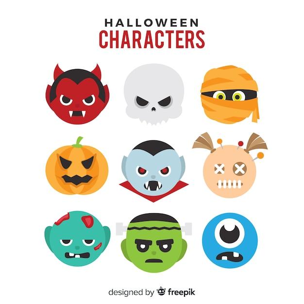 Satz lustige halloween-charaktere Kostenlosen Vektoren